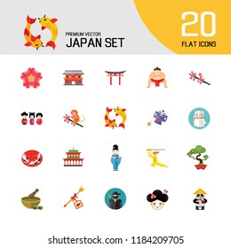 Japan Icon Set. Japanese Kite Japanese Cranes Torii Gate Bonsai Tree Koi Fish Japanese Ninja Sumo Wrestler Female Ninja Hamaya Arrow Geisha Japanese Lucky Cat Geisha Head Sakura Twig