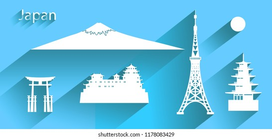 Japan icon or symbol with long shadow, Travel banner with tokyo tower and fuji mountain,   Chureito Pagoda, Himeji castle all in silhouette style on blue background, Paper art, Vector illustration