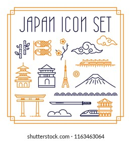 Japan icon and symbol in thin line style. Japan outline icon set in frame.