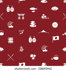 "Japan icons seamless pattern with symbols for ""Land of the Rising Sun"" in Japanese"