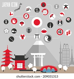 Japan icons set. Vector illustration.