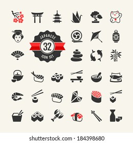 Japan icons web set