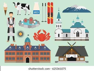 Japan illustration, Hokkaido, Vector, Landmark, Travel, Culture
