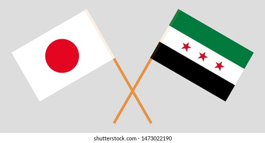 Japan and Interim Government of Syria. Crossed Japanese and Coalition flags