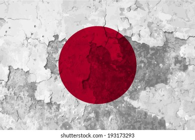 Japan, Japanese flag on concrete textured background