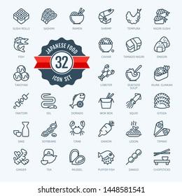 Japan, Japanese food, Japanese cuisine - minimal thin line web icon set.  Outline icons collection for menu, restaurant, sushi bar, gastronomic tour. Simple vector illustration.