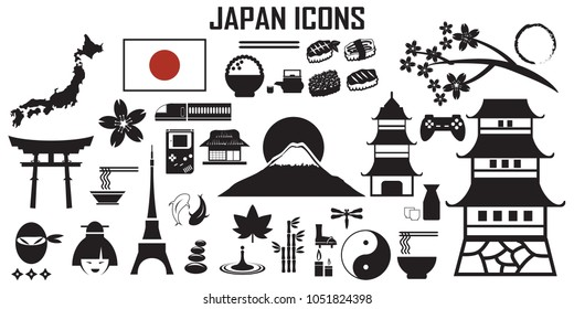 Japan ,japanese ,zen, fuji, osaka, sushi ,ninja , flat icons. mono vector symbol
