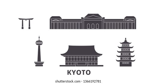 Japan, Kyoto flat travel skyline set. Japan, Kyoto black city vector illustration, symbol, travel sights, landmarks.