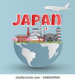 Japan landmark global travel with Himeji castle, Asakuza Sensoji, Sensoji Temple, Itsukushima Shrine and Tokyo Tower. Paper art style