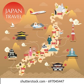 Japan landmark icons map for traveling