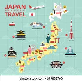 Japan landmark icons map for traveling