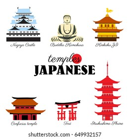 Japan landmark, Kinkaku JI temple, Itsukushima Shrine, Confucius temple, Nagoya castle, symbols japanese pagoda, torii, Buddha vector illustration travel icon, decorative sign for design advertising