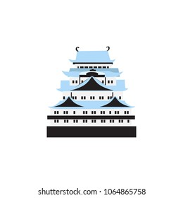 Japan landmark Nagoya castle, symbol japanese vector illustration isolated on white background, travel icon, decorative sign flat style colorful famous building for design advertising, infographic