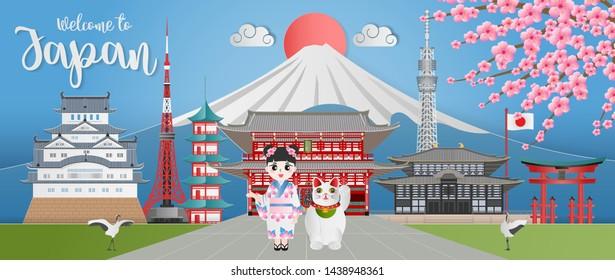 Japan landmark travel banner with Himeji castle, Asakuza Sensoji, Sensoji Temple, Itsukushima Shrine, Tokyo Tower, girl in kimono dress, maneki neko, cherry blossom,and fuji mountain. Paper art style