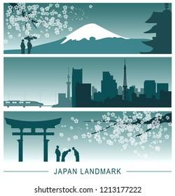 Japan landmarks banner.
