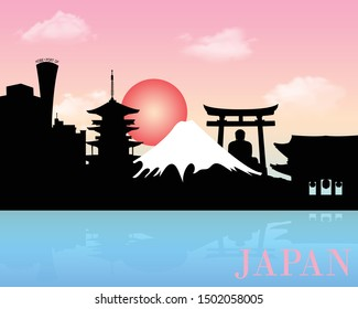 Japan landmarks, skyline silhouette background, vector illustration
