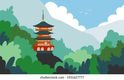 Japan landscape flat cartoon illustration. Beautiful mountain, forest, ancient building  banner design. Asian nature, touristic printing card