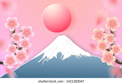 Japan landscape with Fuji mountain banner and Cherry blossom, sakura falling down, Paper cut out style. Vector illustration