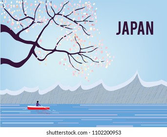 Japan landscape with sakura and water, tranquil scene. Vector graphic illustration