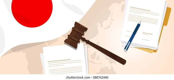 Japan law constitution legal judgment justice legislation trial concept using flag gavel paper and pen vector