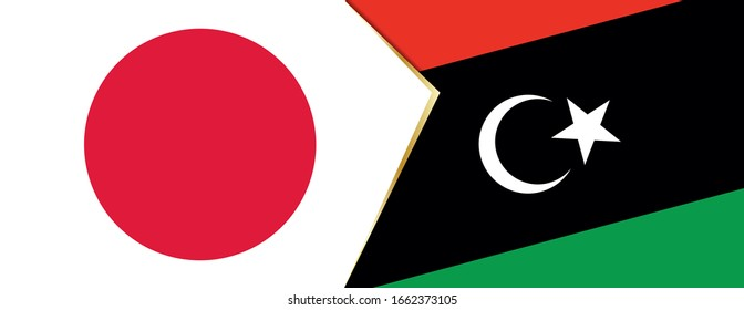 Japan and Libya flags, two vector flags symbol of relationship or confrontation.