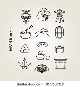 Japan line art icon set including a torii gate, sushi, ramen, origami, Mt. Fuji, a samurai mask, and more.