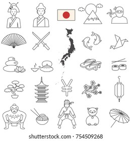 Japan line icon set.Vector