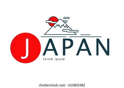 Japan logo. Scene of fuji mountain. japan famous Landmark. flat line design element. vector illustration