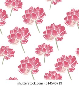 Japan lotus seamless vector pattern. Floral pattern for fabric