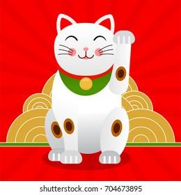 Japan lucky cat or Maneki Neko cat