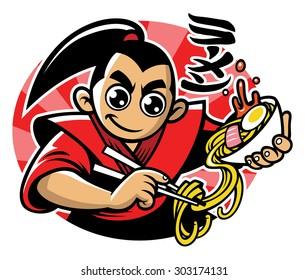 japan man eats the ramen noodle along with ramen word writes in japanese kanji