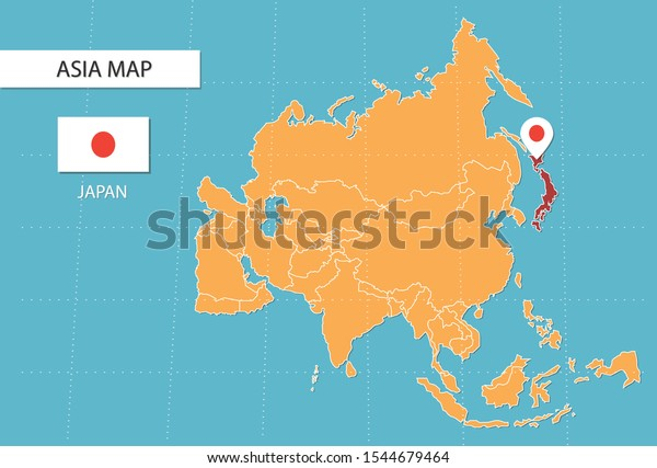 Japan Map Asia Icons Showing Japan Stock Vector Royalty Free 1544679464