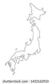 Japan map, asia travel concept,  land scene vector .