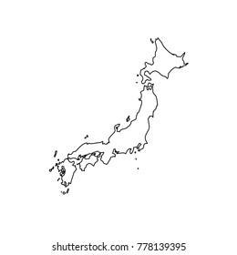 Japan map of black contour curves of vector illustration