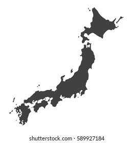 Japan map in black on a white background. Vector illustration