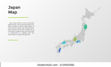 Japan Map Regions.Japan Map Divided Into Provinces Regions Stock Vector Royalty Free