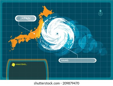 Japan Map with Eye of Typhoon, Cyclone or Storm Vector