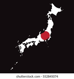 Japan Map with Flag High Detailed vector
