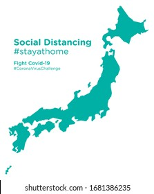 Japan map with Social Distancing #stayathome tag