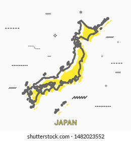 Japan map in thin line style with small geometric figures. Vector illustration modern concept