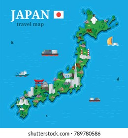 Japan map for traveler with local oriental attractions on background ships floating in sea vector illustration in flat style