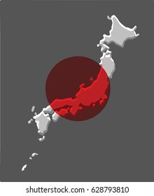 Japan map vector with the japanese flag