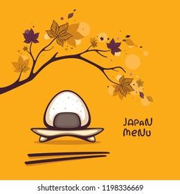 Japan menu vector illustration. Tasty onigiri with autumn branch on background.  Season menu decoration.