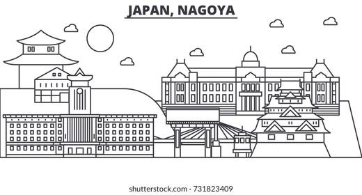 Japan, Nagoya architecture line skyline illustration. Linear vector cityscape with famous landmarks, city sights, design icons. Landscape wtih editable strokes