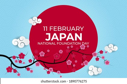 Japan Nation Foundation Day realistic 3d Background with sakura Flowers. 11 February. Vector Illustration