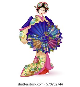 Japan National doll Hina Ningyo in a blue kimono with an umbrella. Pattern with chrysanthemums. A character in a cartoon style. Vector illustration on white background. Isolated.