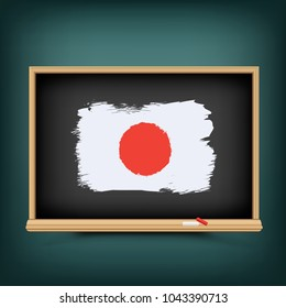 Japan national flag draw on school education blackboard. Great 8 country Japanese standard banner backdrop. Learn language lesson