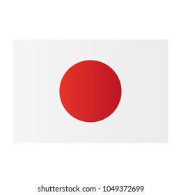 Japan national flag on white background texture. Vector illustration state symbol.