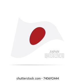 Japan national flag waving vector icon