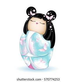 Japan National kokeshi doll in blue kimono with a pattern of pink clouds and butterflies. Vector illustration on white background. A character in a cartoon style. Isolated.